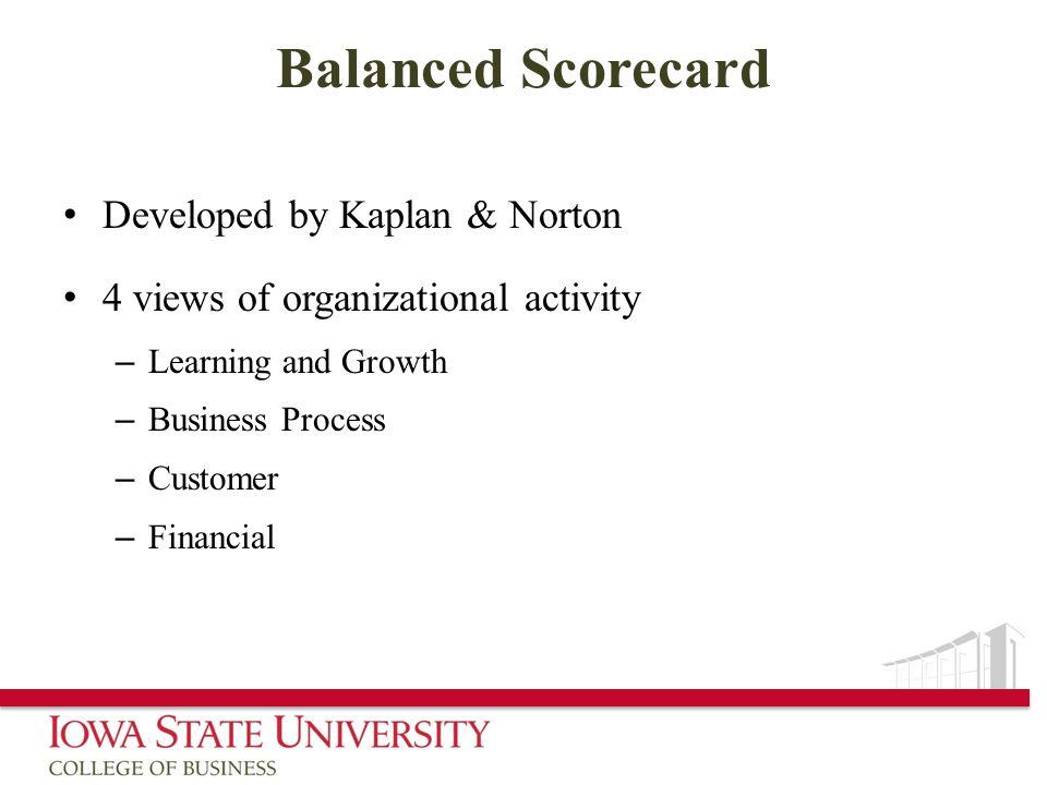 Balanced Scorecard Developed by Kaplan & Norton 4 views of organizational activity – Learning and Growth – Business Process – Customer – Financial
