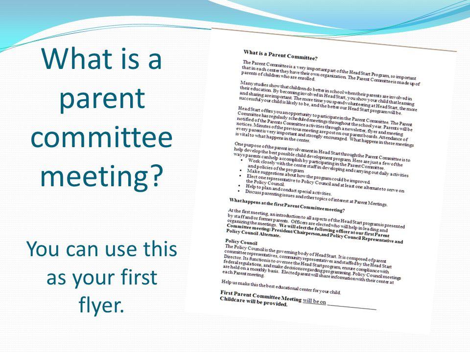 sample parent meeting flyer