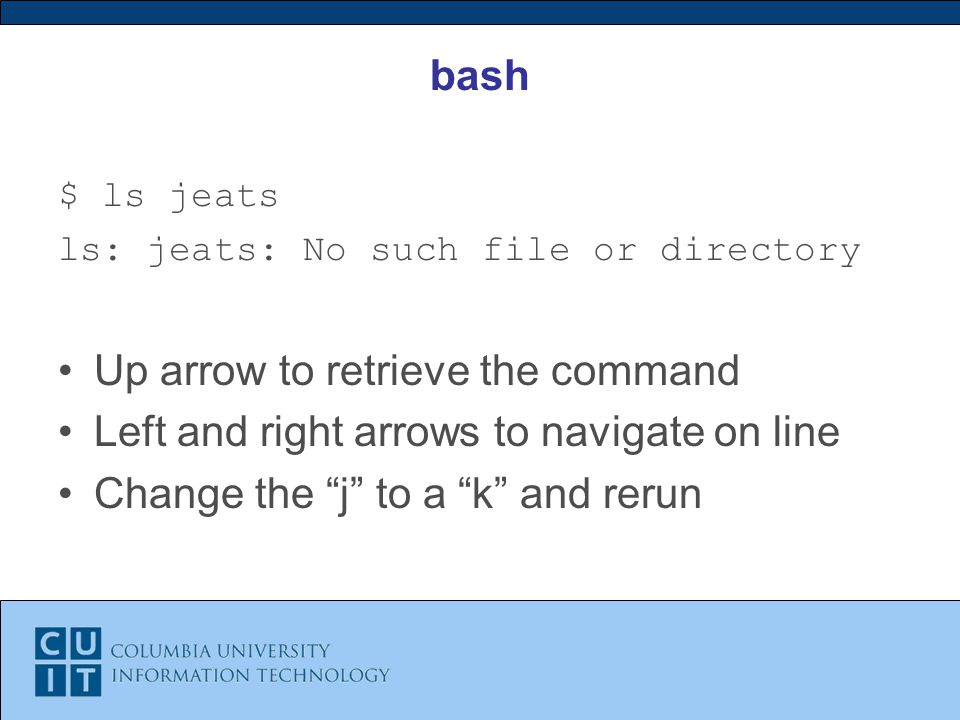 bash $ ls jeats ls: jeats: No such file or directory Up arrow to retrieve the command Left and right arrows to navigate on line Change the j to a k and rerun