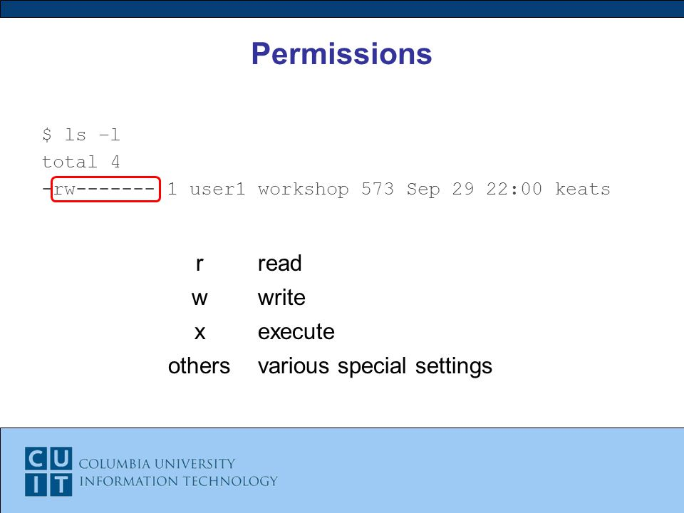 Permissions $ ls –l total 4 -rw user1 workshop 573 Sep 29 22:00 keats rread wwrite xexecute othersvarious special settings