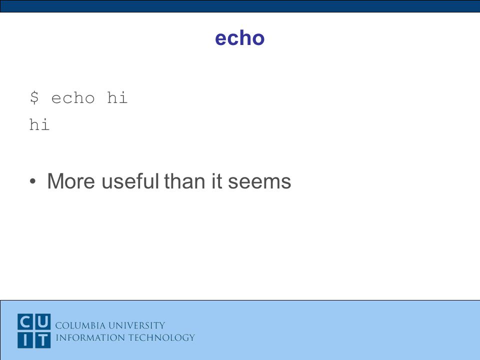 echo $ echo hi hi More useful than it seems
