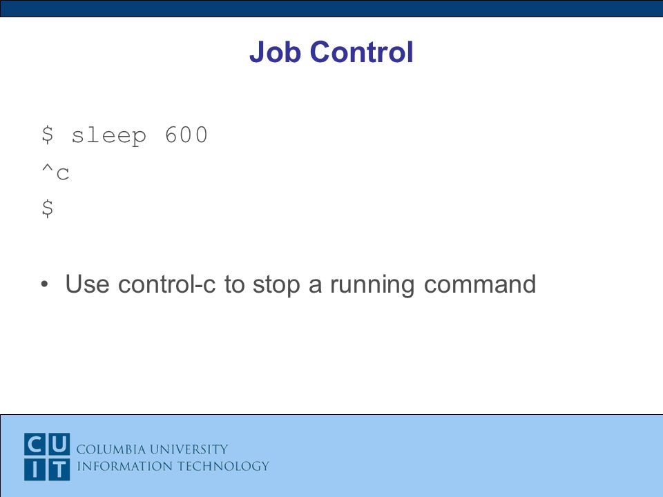 Job Control $ sleep 600 ^c $ Use control-c to stop a running command