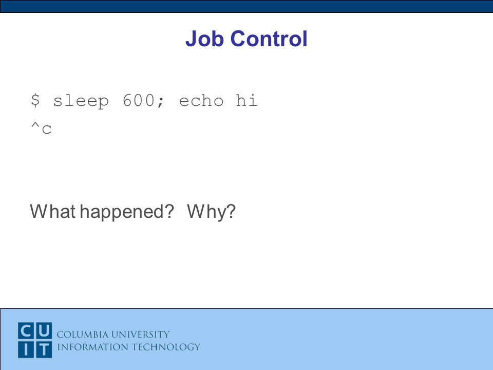 Job Control $ sleep 600; echo hi ^c What happened Why