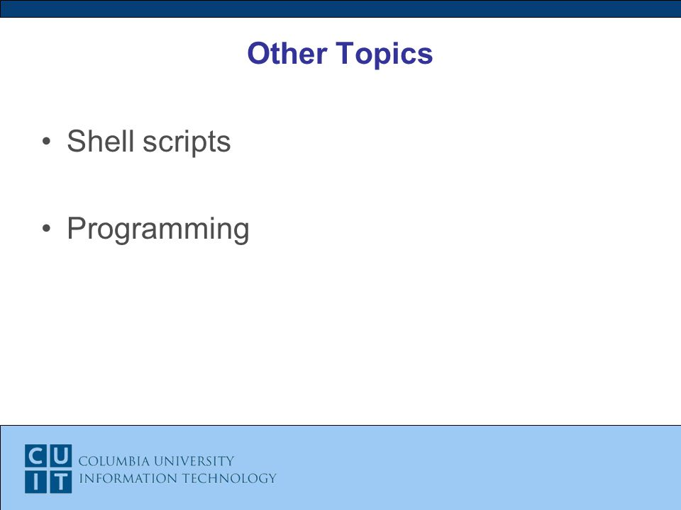 Other Topics Shell scripts Programming
