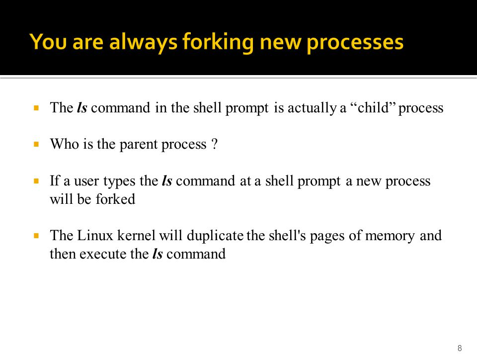  The ls command in the shell prompt is actually a child process  Who is the parent process .
