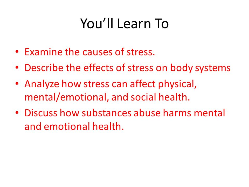 Effects of Stress Chapter 8 Lesson 1 Mr. Martin