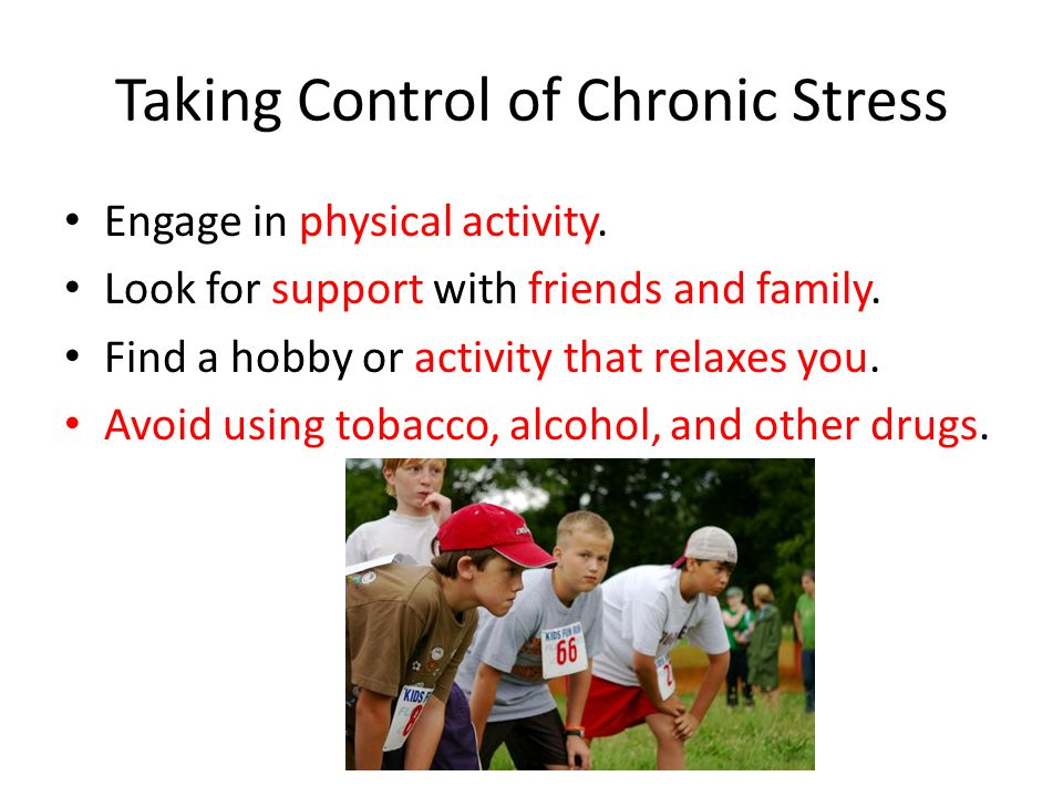 Chronic Stress Chronic stress is associated with long-term problems that are beyond a person's control.