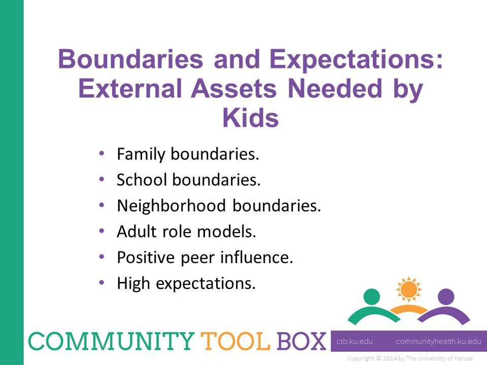 Copyright © 2014 by The University of Kansas Boundaries and Expectations: External Assets Needed by Kids Family boundaries.