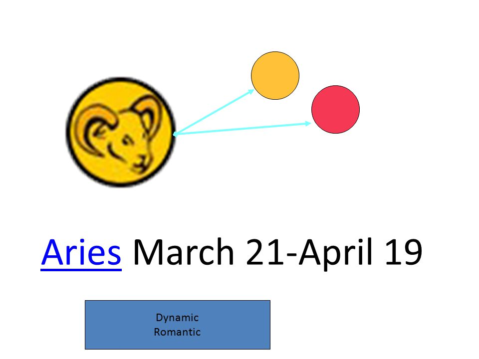 AriesAries March 21-April 19 Dynamic Romantic