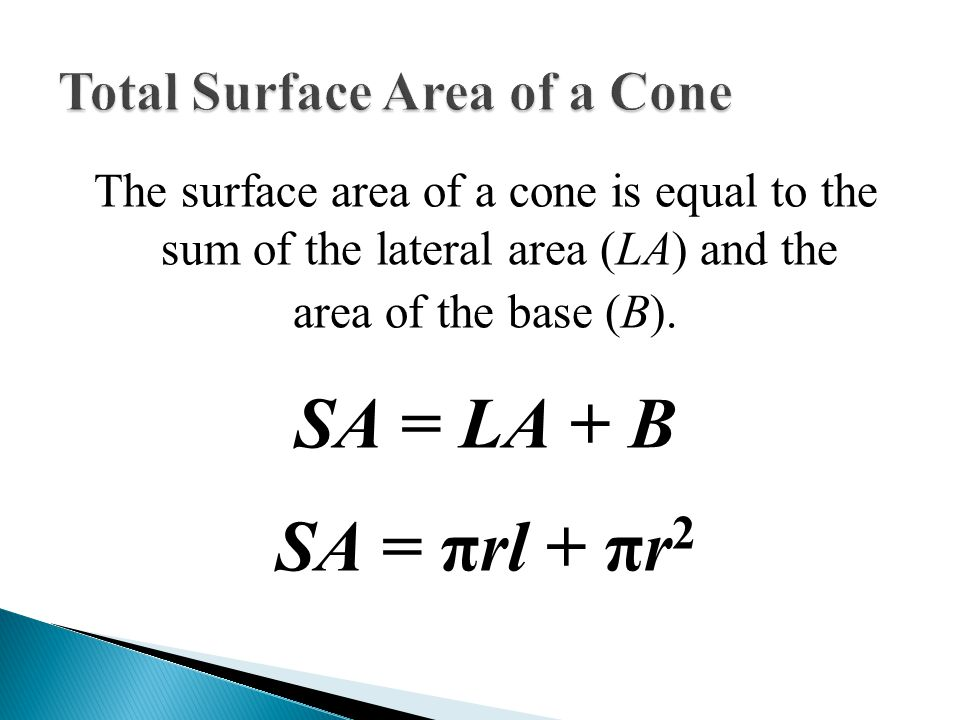 total surface area of a cone