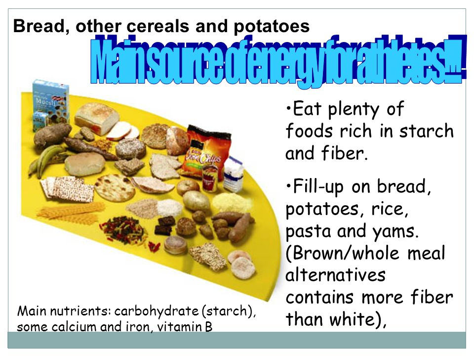 Bread, other cereals and potatoes Eat plenty of foods rich in starch and fiber.