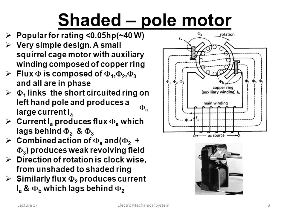 Lecture 17Electro Mechanical System8 Shaded – pole motor  Popular for rating <0.05hp(~40 W)  Very simple design.