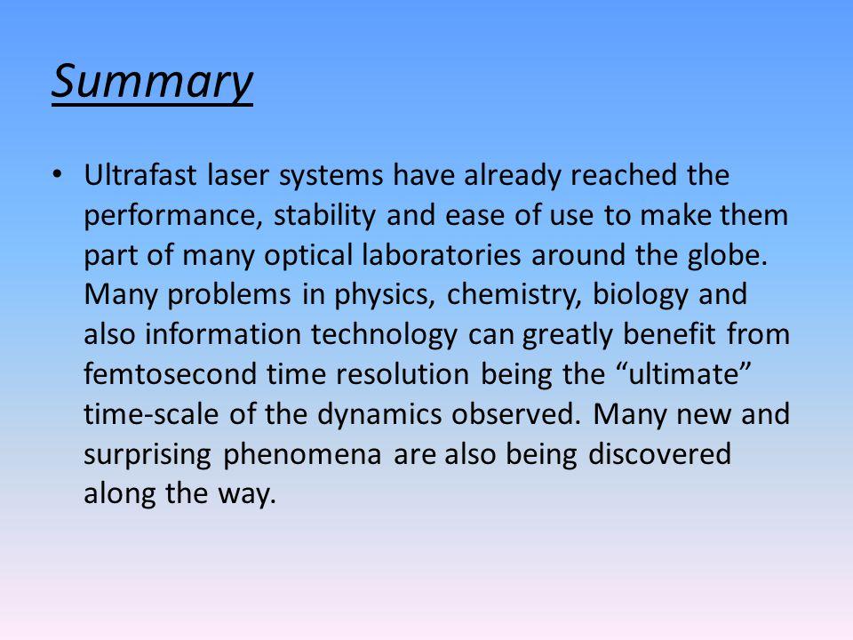 femtosecond chemistry. 12 summary femtosecond chemistry