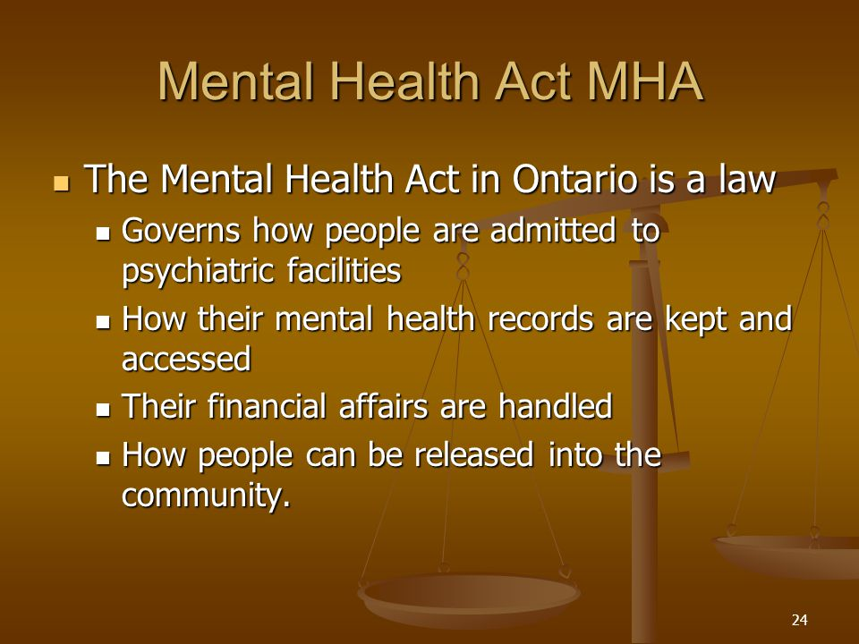 mental health act The national mental health act of 1946 the most tangible evidence that citizens' mental health had been elevated to a major priority of federal government came with passage of the national mental health act (nmha) of 1946 [.