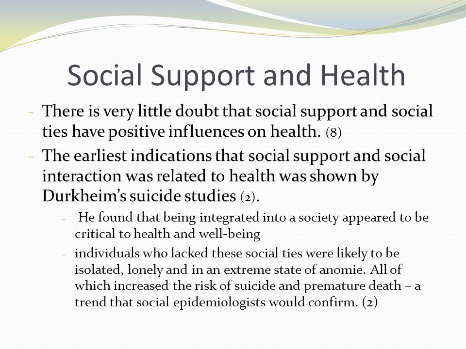 social support and health and well