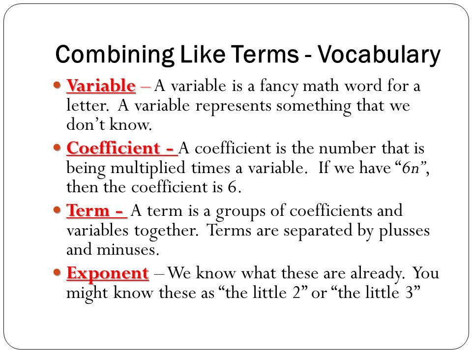 Combining Like Terms - Versatiles