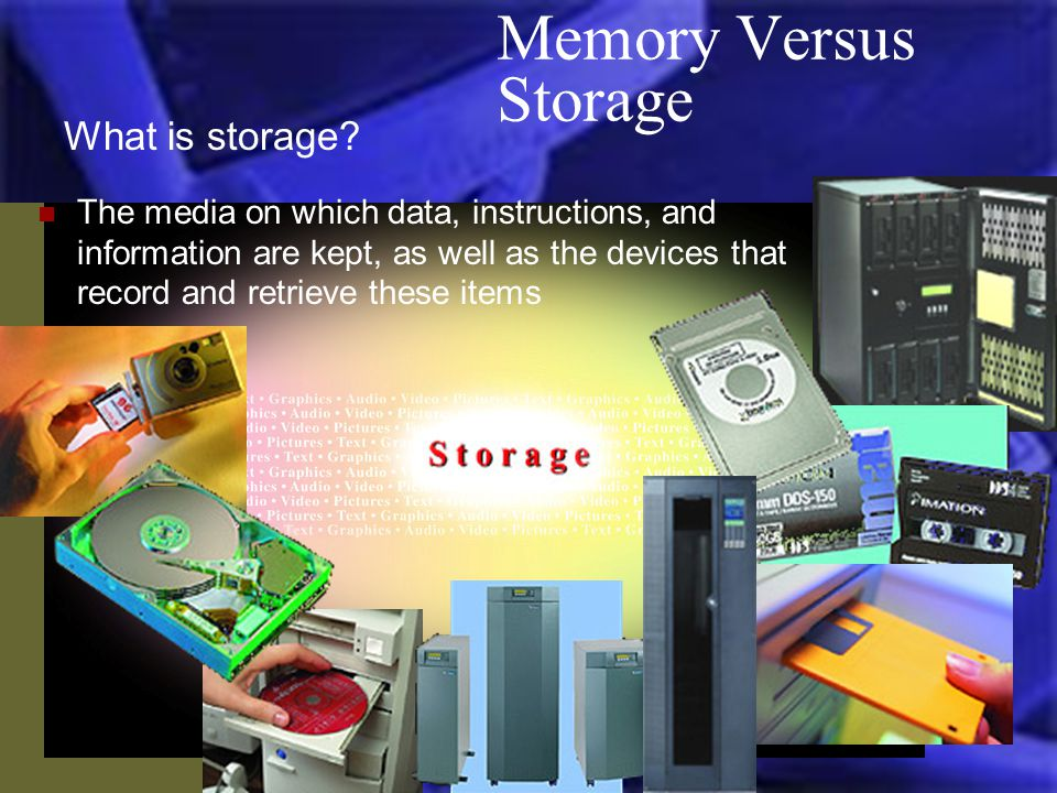 Memory Versus Storage What is storage.