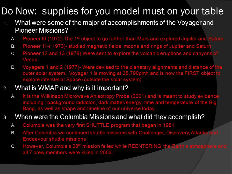 Do Now: supplies for you model must on your table 1.
