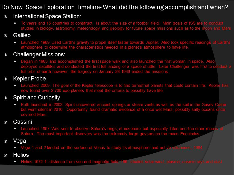Do Now: Space Exploration Timeline- What did the following accomplish and when.