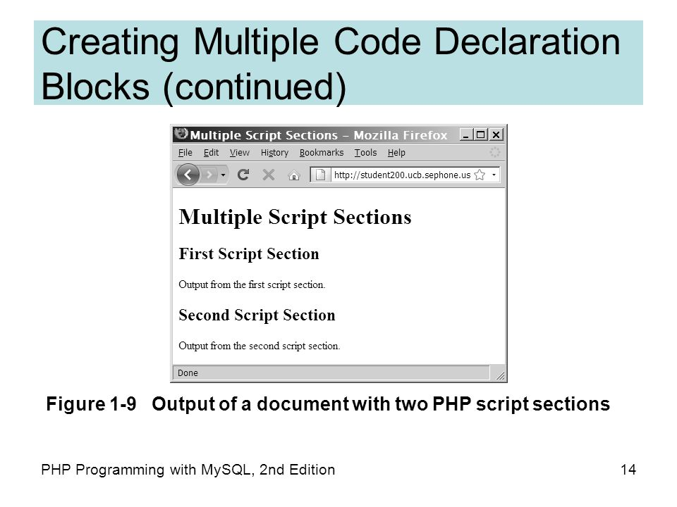 14PHP Programming with MySQL, 2nd Edition Creating Multiple Code Declaration Blocks (continued) Figure 1-9 Output of a document with two PHP script sections