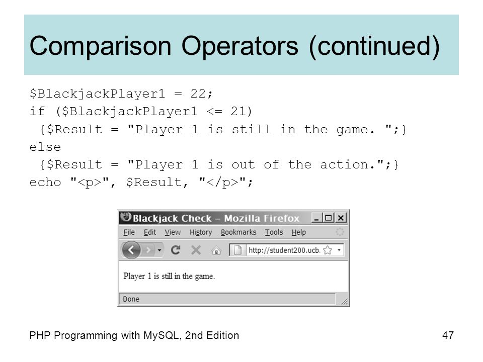 47PHP Programming with MySQL, 2nd Edition Comparison Operators (continued) $BlackjackPlayer1 = 22; if ($BlackjackPlayer1 <= 21) {$Result = Player 1 is still in the game.