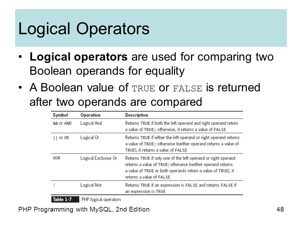 48PHP Programming with MySQL, 2nd Edition Logical Operators Logical operators are used for comparing two Boolean operands for equality A Boolean value of TRUE or FALSE is returned after two operands are compared