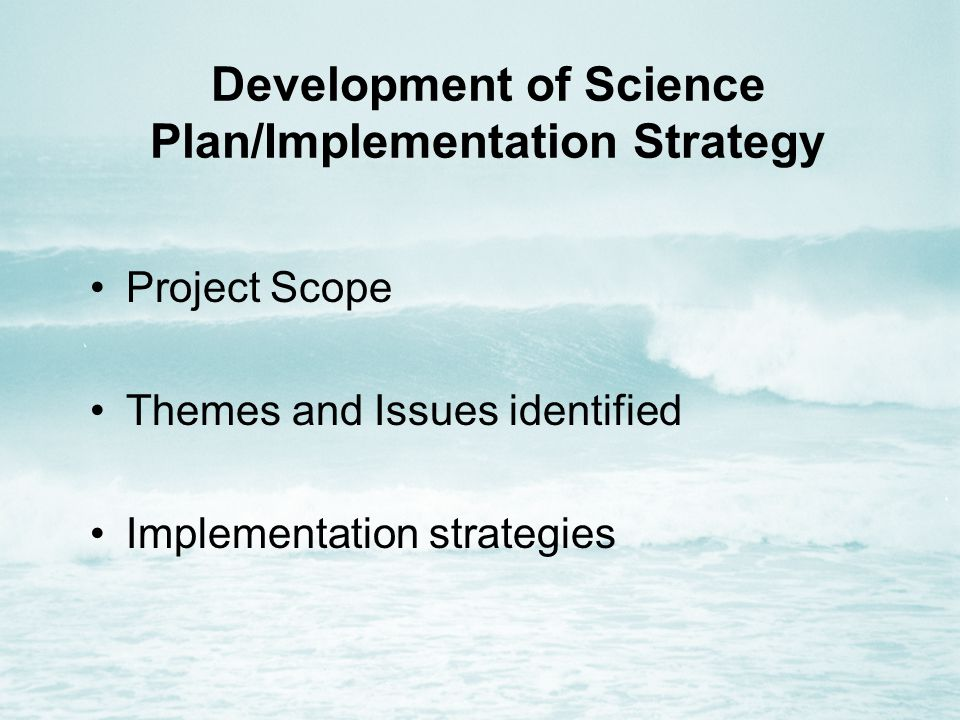 Development of Science Plan/Implementation Strategy Project Scope Themes and Issues identified Implementation strategies