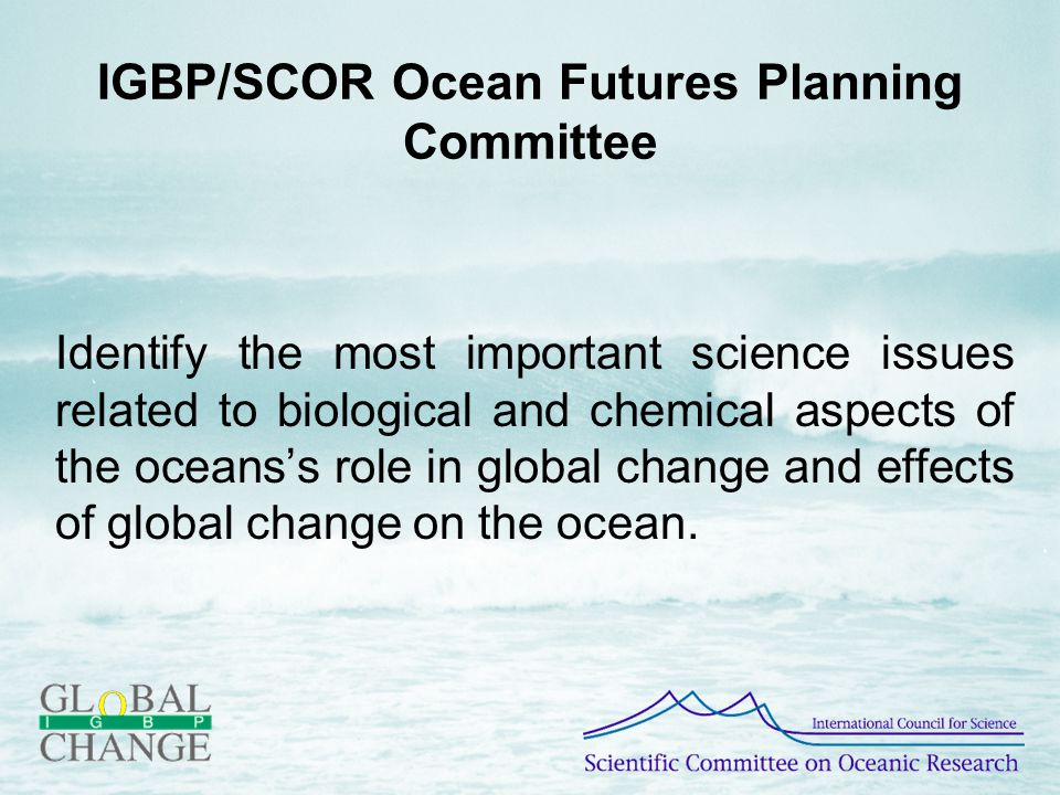 IGBP/SCOR Ocean Futures Planning Committee Identify the most important science issues related to biological and chemical aspects of the oceans's role in global change and effects of global change on the ocean.