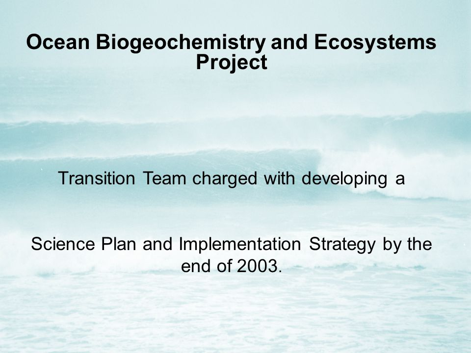 Ocean Biogeochemistry and Ecosystems Project Transition Team charged with developing a Science Plan and Implementation Strategy by the end of 2003.
