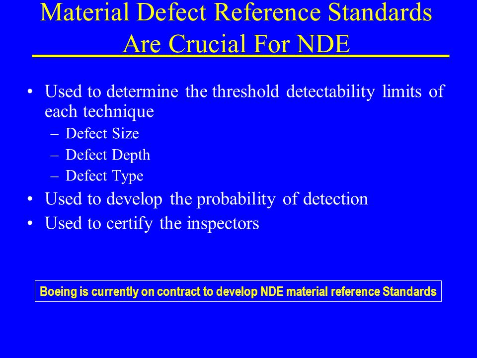 Material Defect Reference Standards Are Crucial For NDE Used to determine the threshold detectability limits of each technique –Defect Size –Defect Depth –Defect Type Used to develop the probability of detection Used to certify the inspectors Boeing is currently on contract to develop NDE material reference Standards