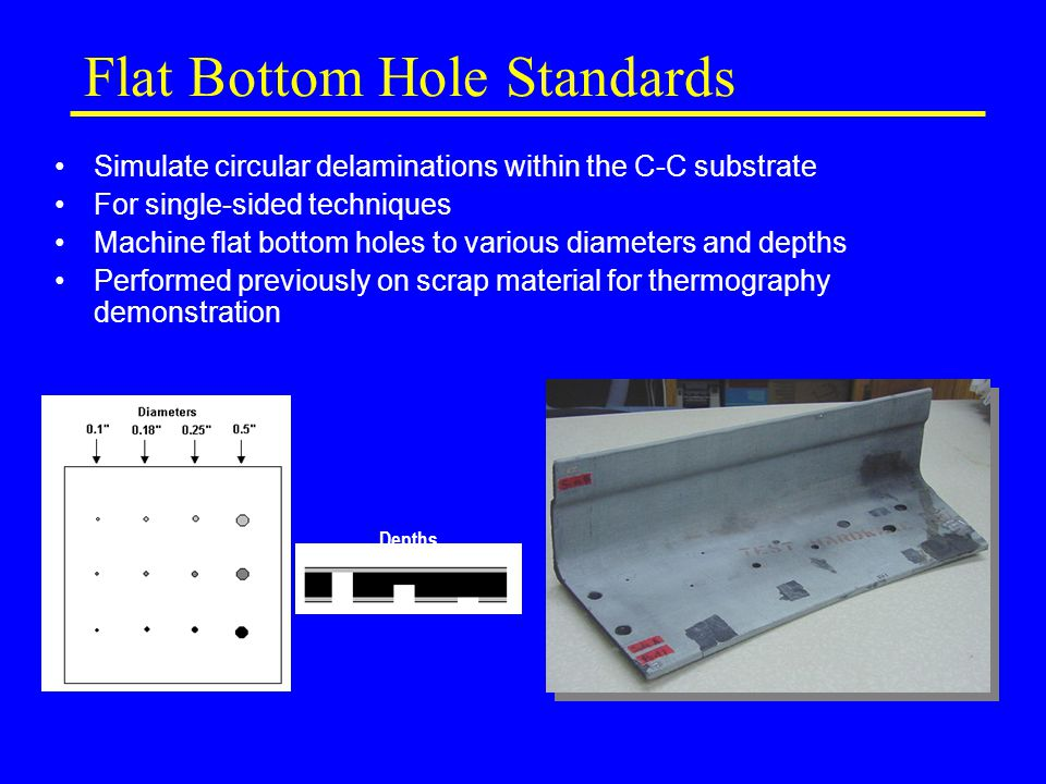 Flat Bottom Hole Standards Simulate circular delaminations within the C-C substrate For single-sided techniques Machine flat bottom holes to various diameters and depths Performed previously on scrap material for thermography demonstration Depths