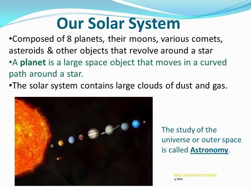Our Solar System Composed of 8 planets, their moons, various comets, asteroids & other objects that revolve around a star A planet is a large space object that moves in a curved path around a star.