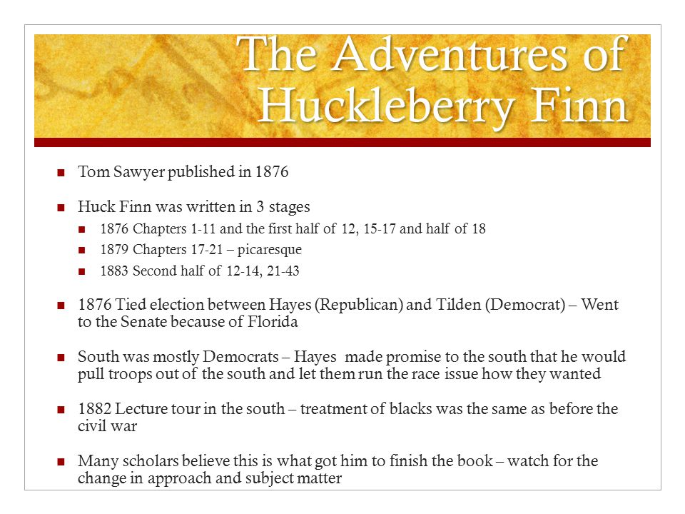 huck finn analysis The adventures of huckleberry finn study guide contains a biography of mark twain, literature essays, a complete e-text, quiz questions, major themes, characters, and a full summary and analysis of.