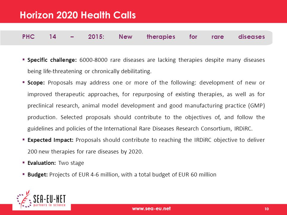 Horizon 2020 Health Calls PHC 14 – 2015: New therapies for rare diseases  Specific challenge: rare diseases are lacking therapies despite many diseases being life-threatening or chronically debilitating.