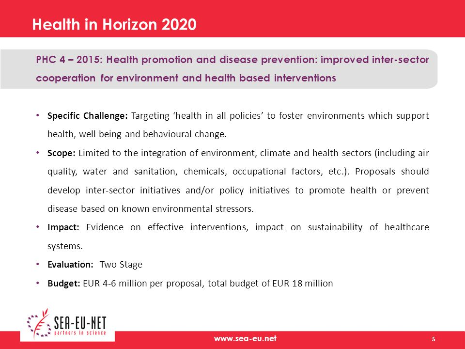 Health in Horizon 2020 PHC 4 – 2015: Health promotion and disease prevention: improved inter-sector cooperation for environment and health based interventions Specific Challenge: Targeting 'health in all policies' to foster environments which support health, well-being and behavioural change.