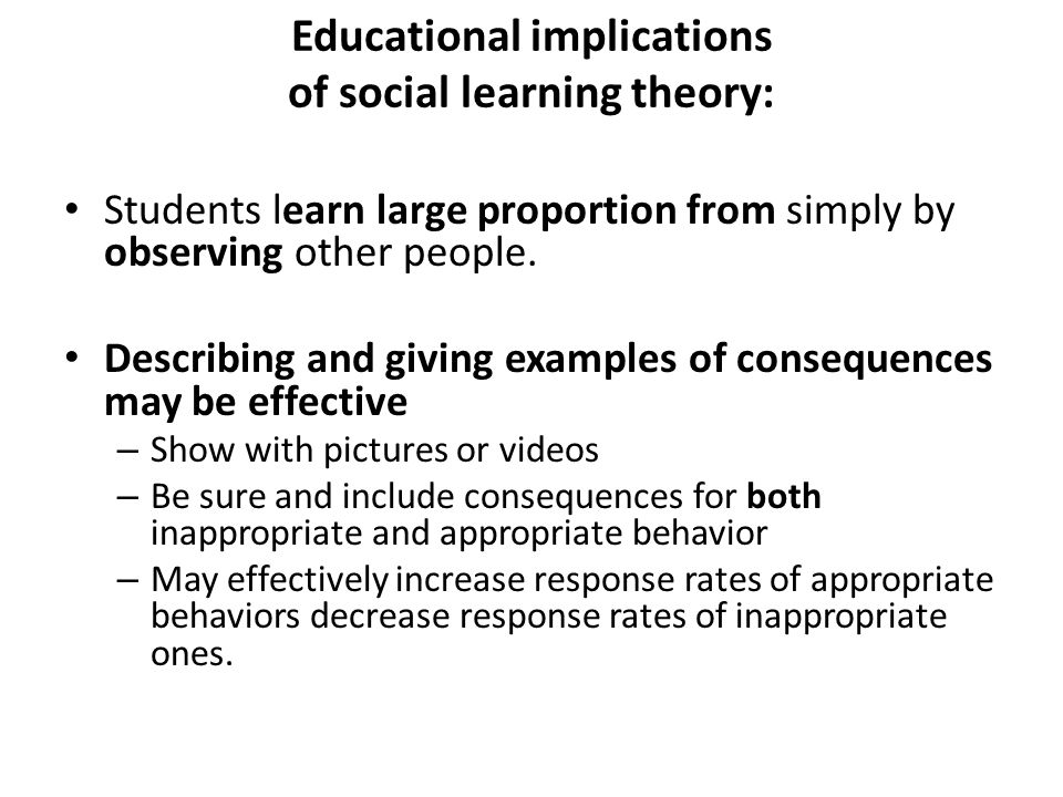 Educational implications of social learning theory: Students learn large proportion from simply by observing other people.