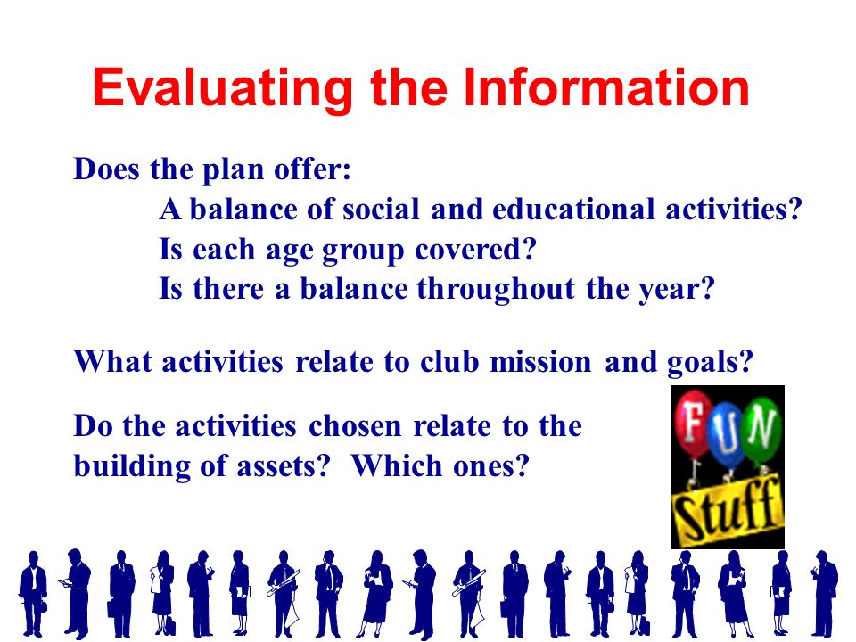 Does the plan offer: A balance of social and educational activities.