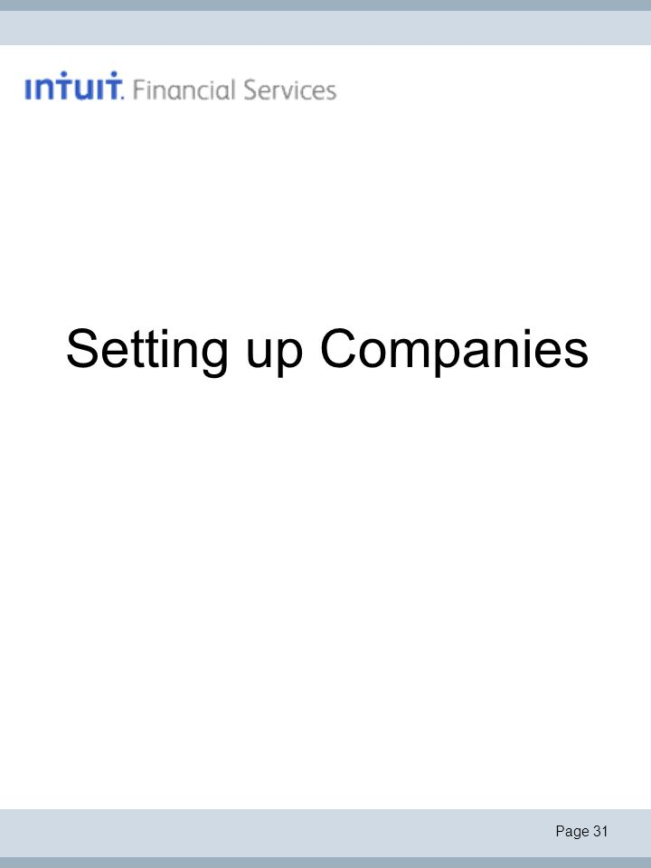 Page 31 Setting up Companies