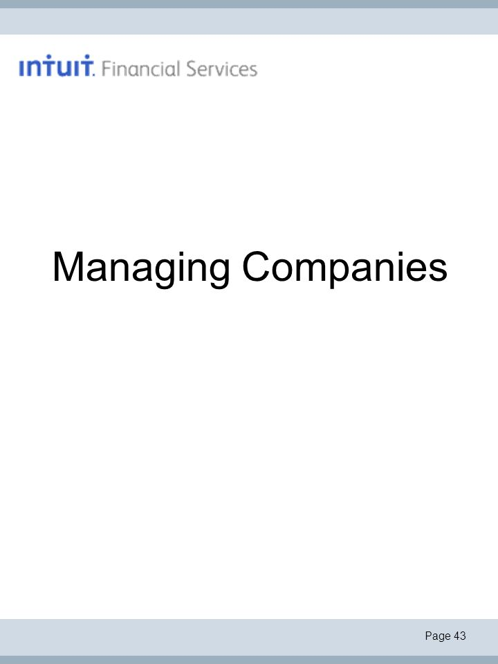 Page 43 Managing Companies