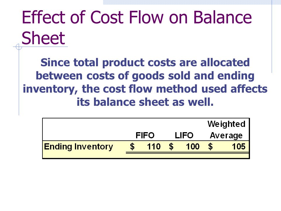 Effect of Cost Flow on Balance Sheet Since total product costs are allocated between costs of goods sold and ending inventory, the cost flow method used affects its balance sheet as well.