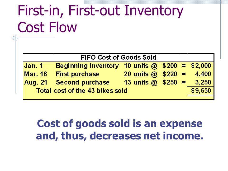First-in, First-out Inventory Cost Flow Cost of goods sold is an expense and, thus, decreases net income.