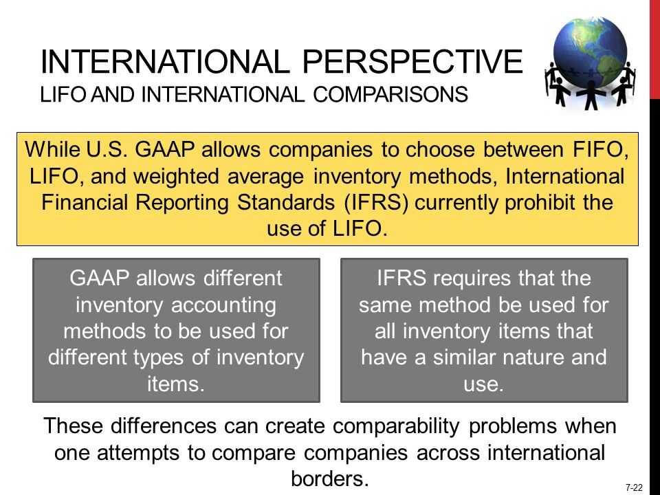 7-22 INTERNATIONAL PERSPECTIVE LIFO AND INTERNATIONAL COMPARISONS While U.S.