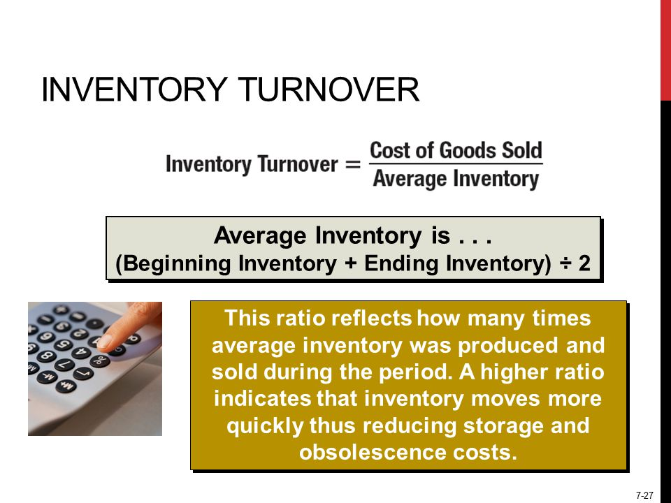 7-27 INVENTORY TURNOVER Average Inventory is...