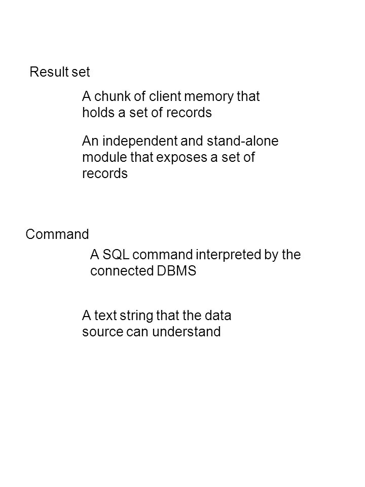 Result set A chunk of client memory that holds a set of records An independent and stand-alone module that exposes a set of records Command A SQL command interpreted by the connected DBMS A text string that the data source can understand