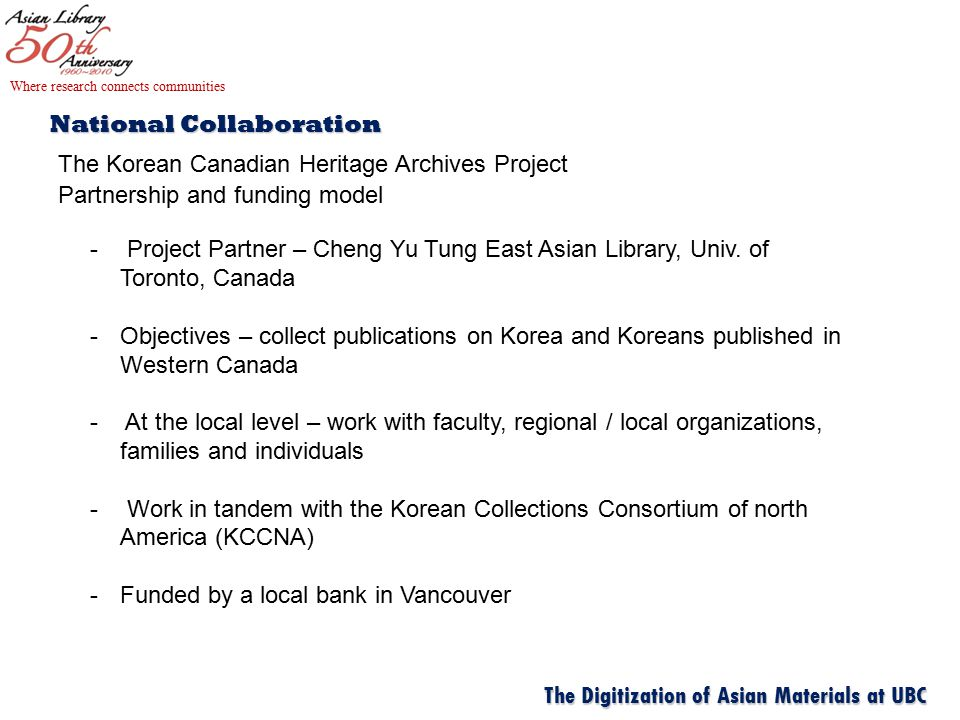 National Collaboration The Korean Canadian Heritage Archives Project Partnership and funding model Where research connects communities The Digitization of Asian Materials at UBC - Project Partner – Cheng Yu Tung East Asian Library, Univ.