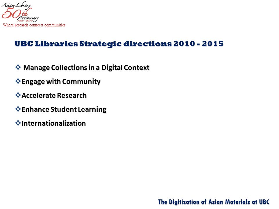 UBC Libraries Strategic directions  Manage Collections in a Digital Context  Engage with Community  Accelerate Research  Enhance Student Learning  Internationalization Where research connects communities The Digitization of Asian Materials at UBC