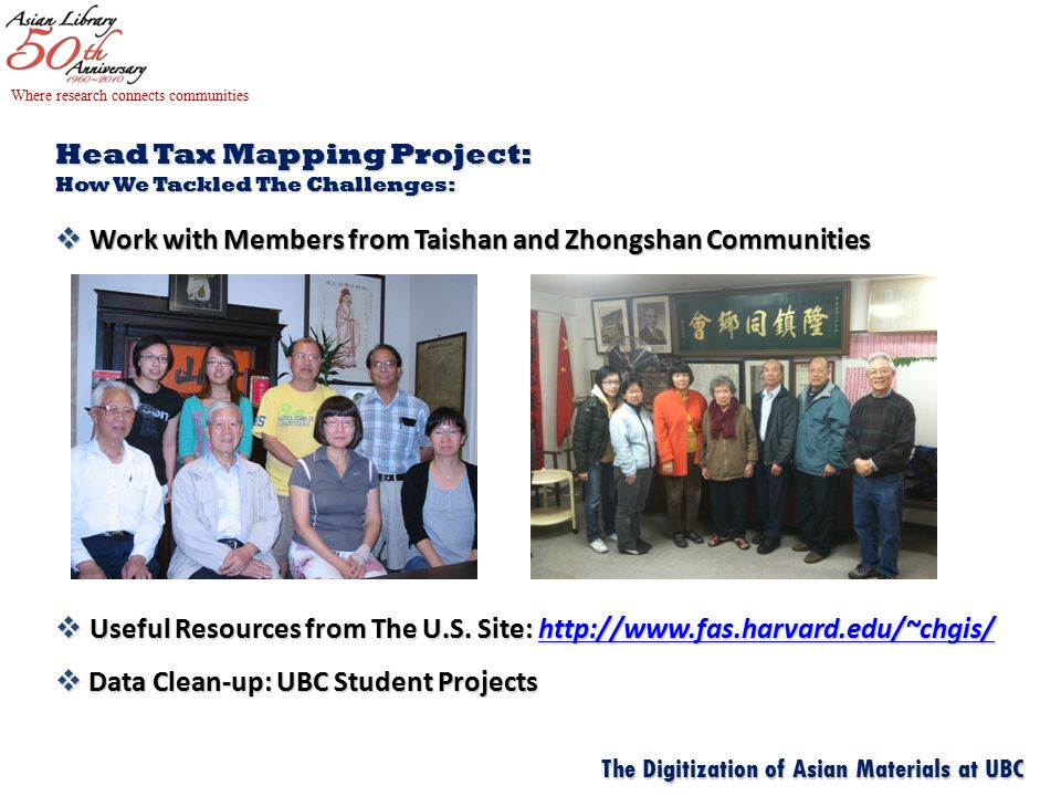 Head Tax Mapping Project: How We Tackled The Challenges:  Work with Members from Taishan and Zhongshan Communities  Useful Resources from The U.S.