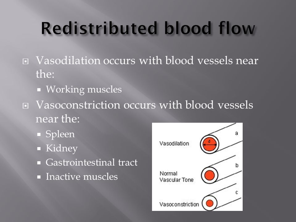  Vasodilation occurs with blood vessels near the:  Working muscles  Vasoconstriction occurs with blood vessels near the:  Spleen  Kidney  Gastrointestinal tract  Inactive muscles