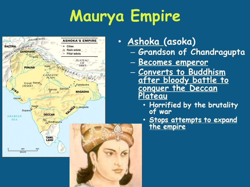 Maurya Empire Ashoka (asoka) – Grandson of Chandragupta – Becomes emperor – Converts to Buddhism after bloody battle to conquer the Deccan Plateau Horrified by the brutality of war Stops attempts to expand the empire
