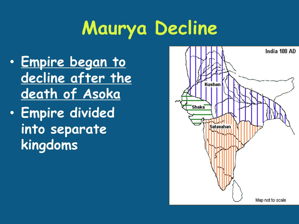 Maurya Decline Empire began to decline after the death of Asoka Empire divided into separate kingdoms